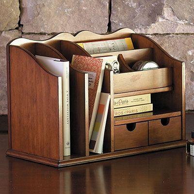 3 Compartment Classic Brown Wood Desktop Office Supply ...  Desktop Mail Organizer For Kitchen