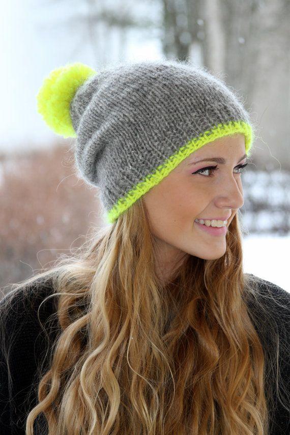 Slouchy Beanie isländische Wolle Hut grau Neon-gelb von pureIceland ...