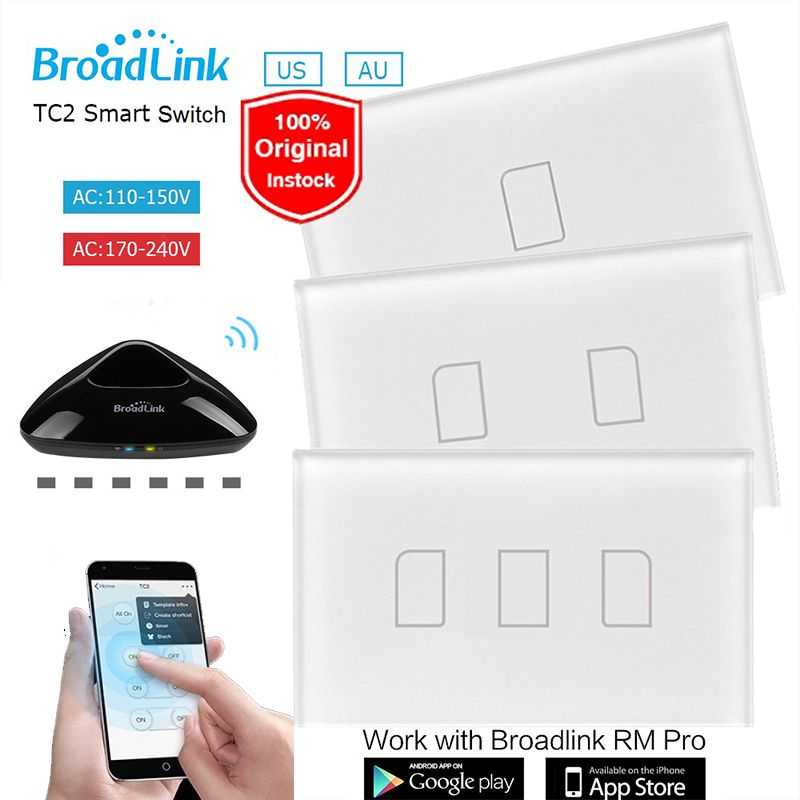New US AU Wifi Broadlink TC2 1 2 3 Gang Remote Wall Touch Switch