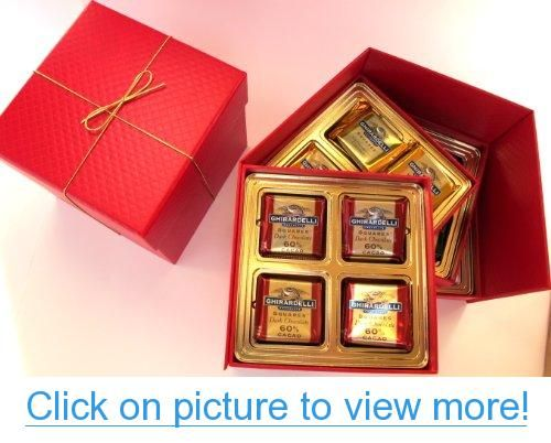 Valentine's Day Heart, Alternative , 32 chocolate squares . Multi Level Gift Box Filled with Premium Assortment of Ghirardelli Squares