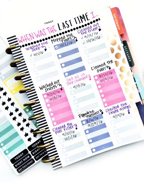 diy cleaning chart in the happy planner of mambi design team member heather kell me my big ideas