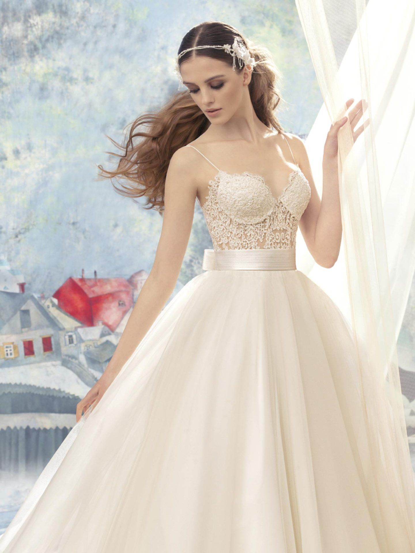 Papilio Lace bustier bodice ball gown wedding dress Ball