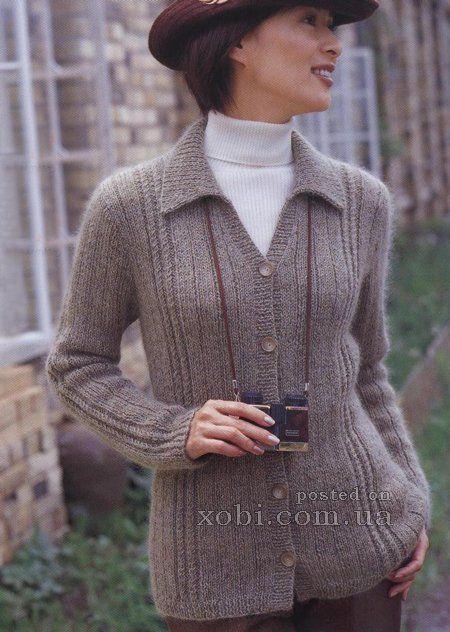 вязание спицами для женщин кофты реглан с воротником на пуговицах