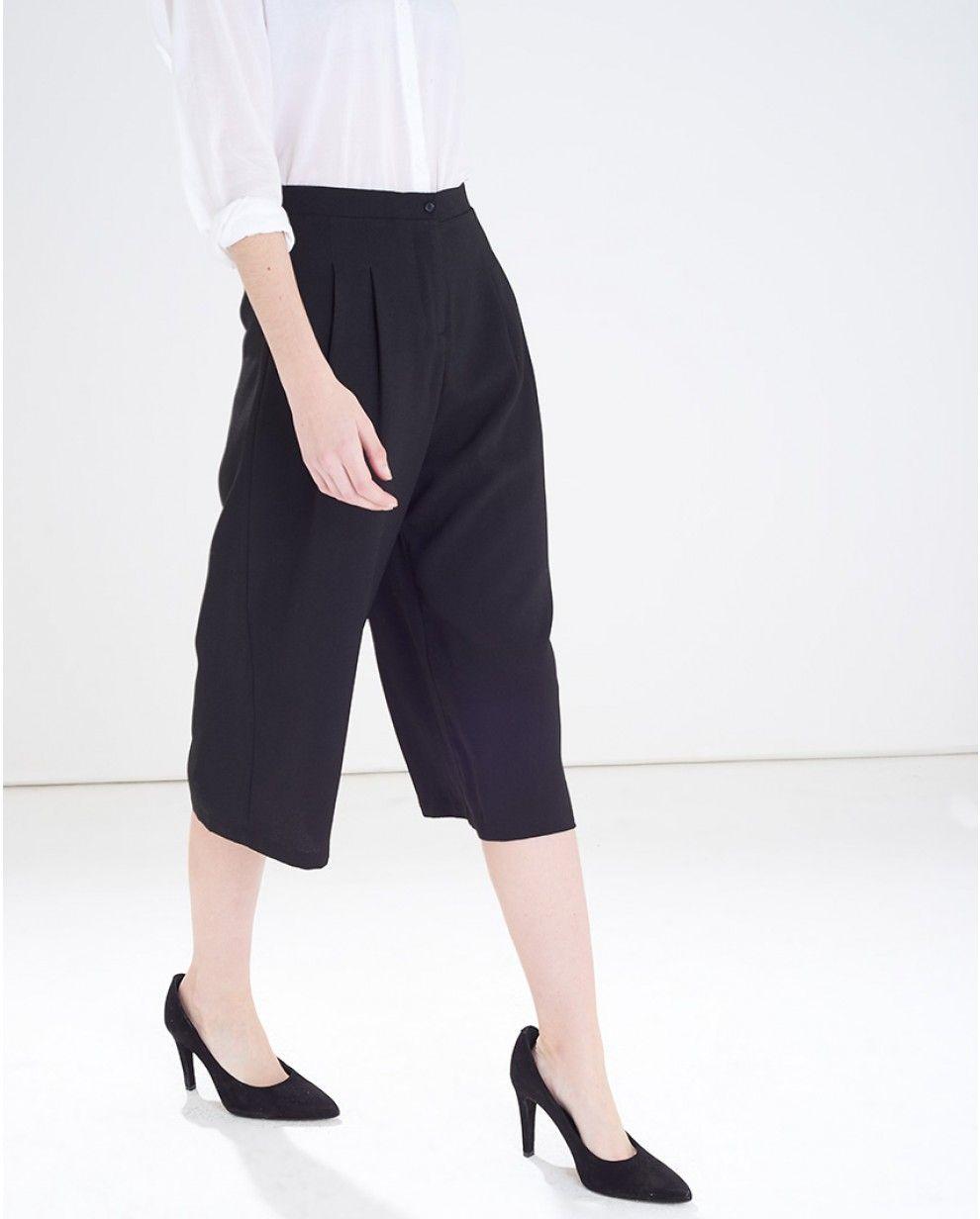 Black Wide Crepe Culottes / vero moda
