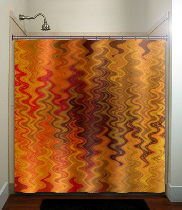Bon Fire Tapestry Flame Orange Brown Chevron Bathroom Shower Curtain Decor  Fabric Ki