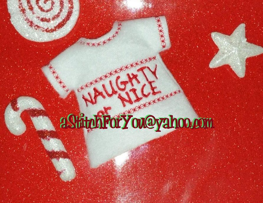 Ith Elf Size Shirt Naughty Or Nice In The Hoop Instant Download
