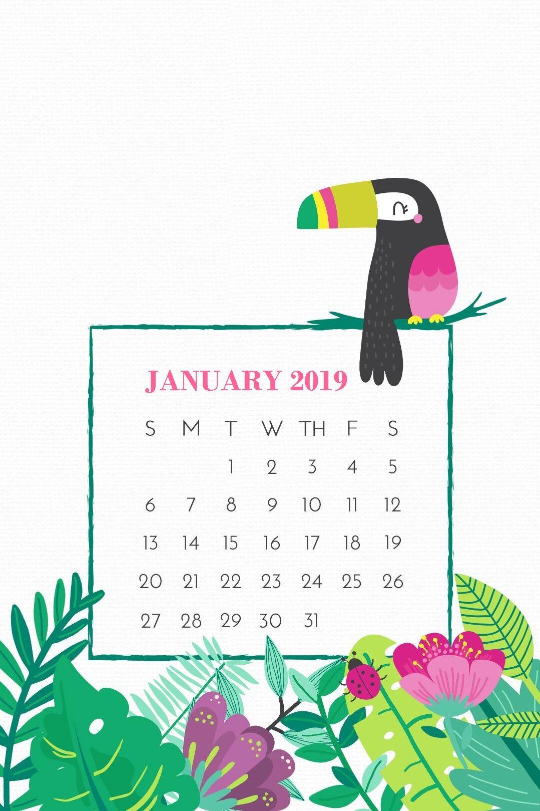 January 2019 Smartphone Calendar Screensaver Background