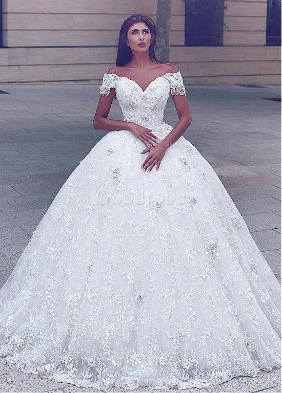 Robe de mariée dentelle fleurs mode de bal