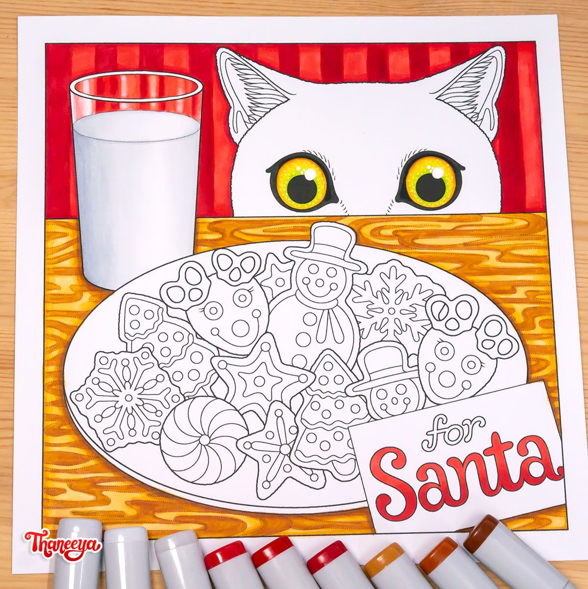 Holiday Cheer Coloring In Progress Santa Coloring Pages