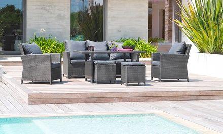 Salon jardin résine luxe 7 places | Groupon | Terrasse Deco ...