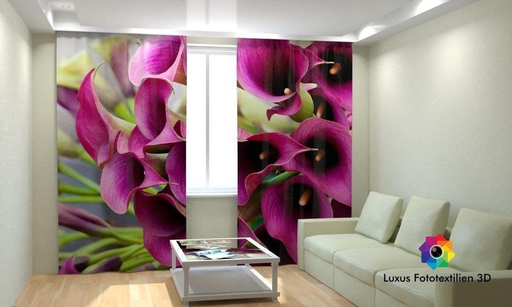 Vorhang Fotodruck fotogardine blumen foto vorhang gardine vorhänge in luxus fotodruck