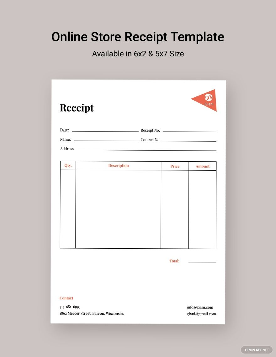 Online Store Receipt Template Ad Paid Store Online Template Receipt Receipt Template Online Online Store