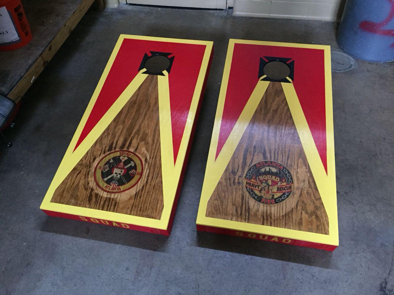 Atlanta Fire Department Squad 4 Cornhole Boards Pallet Lobby