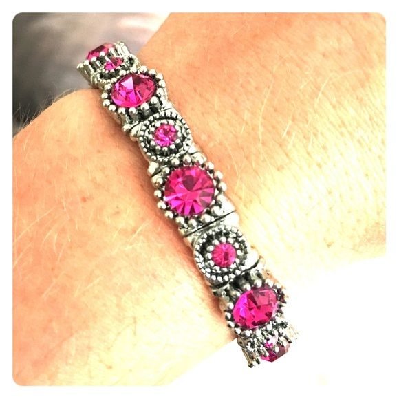 Pink jeweled bracelet Pink and silver elastic jewel bracelet Jewelry Bracelets