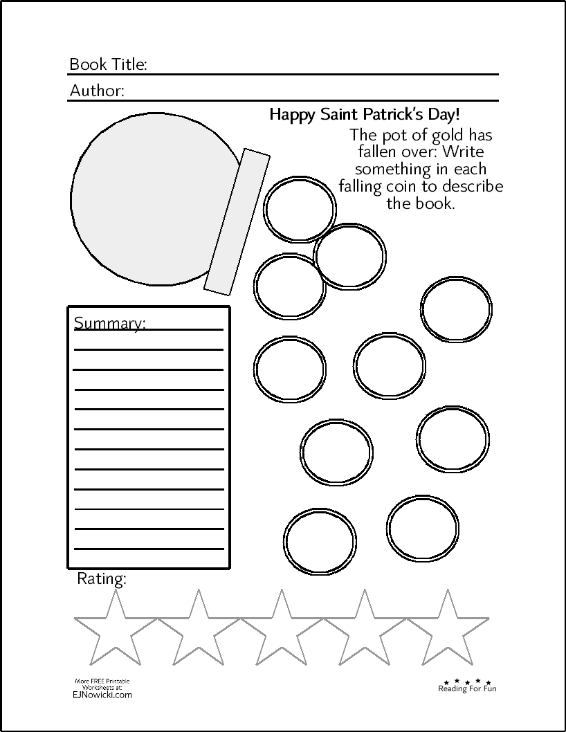 Book Activity St Patrick S Day Themed Fun Worksheets Book Activities Any Book [ 1058 x 818 Pixel ]