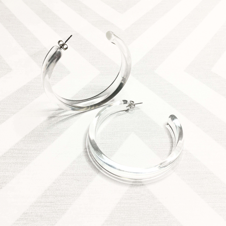 Lucite Hoop Earrings Geometric Earrings Statement Earrings Minimal Earrings Dangle Earrings Clear Hoop Earrings