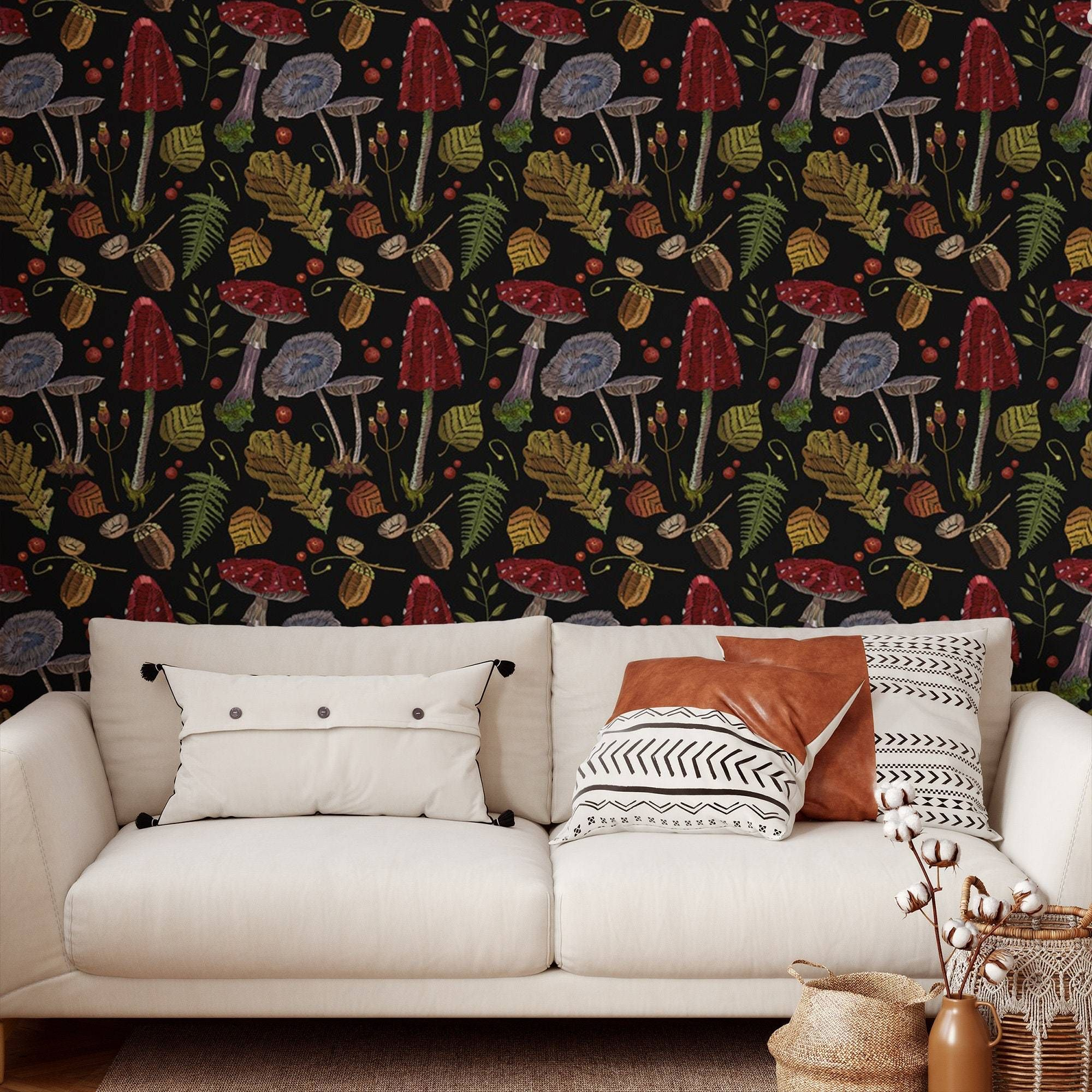 Mushrooms Peel and Stick Wallpaper - Smooth Wall Decal / 1 roll: 24W x 72H