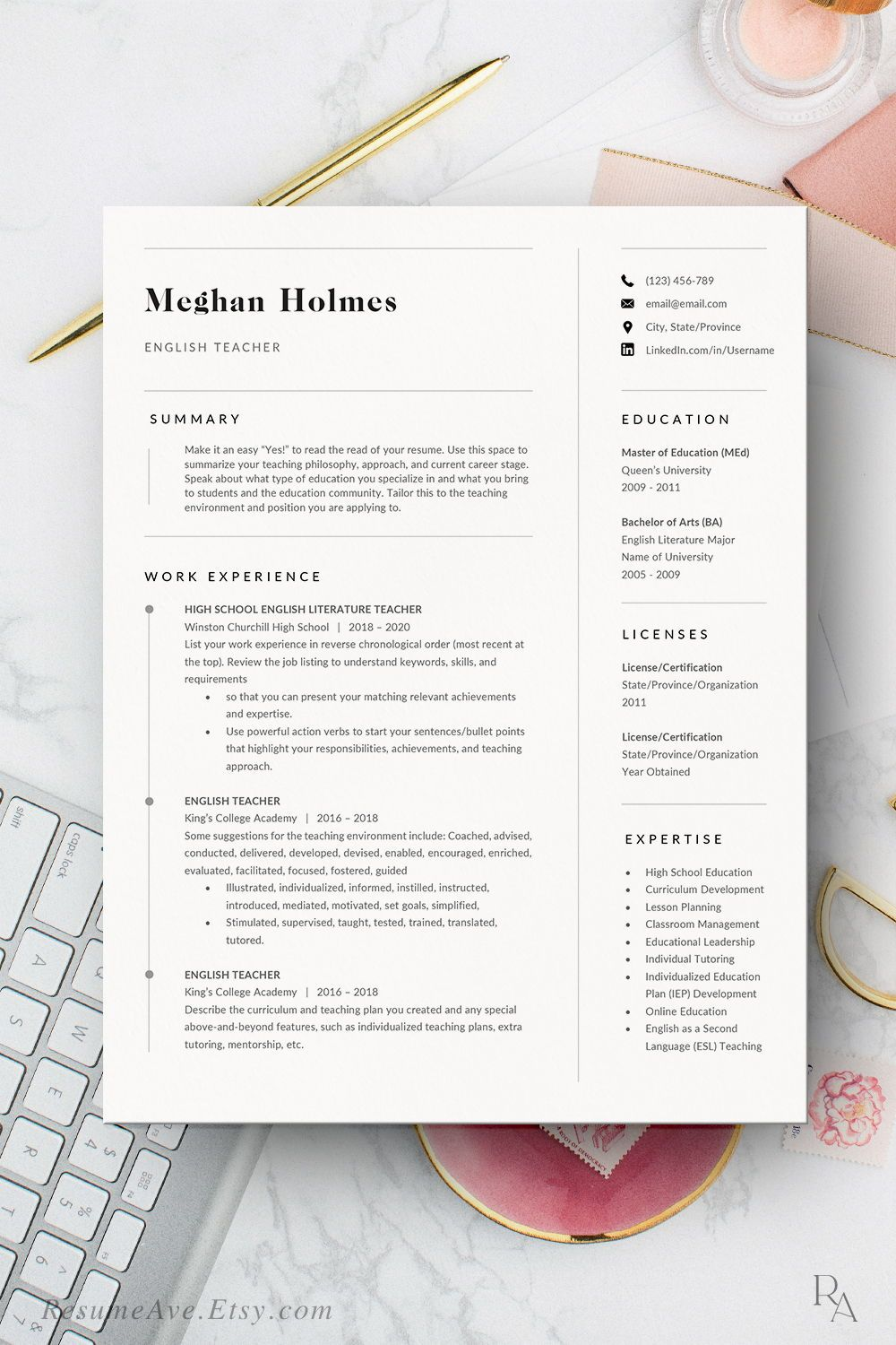 Elegant Teacher Resume Template Word And Cover Letter Etsy In 2020 Teacher Resume Template Resume Template Word Resume Template