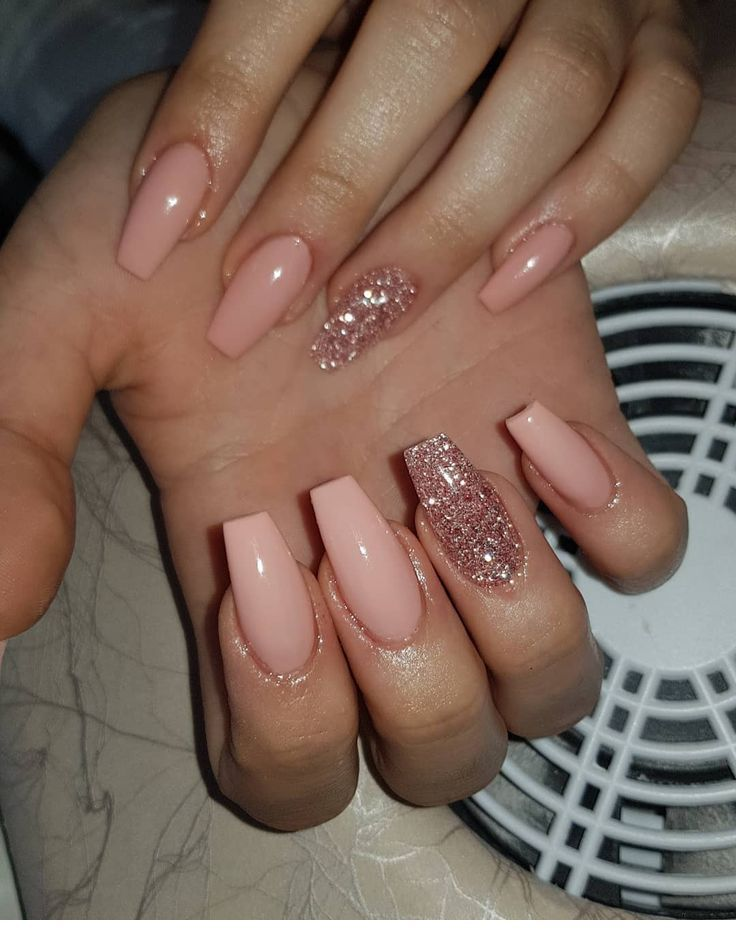 Pink Coffin Nails With Glitter Best Acrylic Nails Coffin Nails Designs Cute Nails