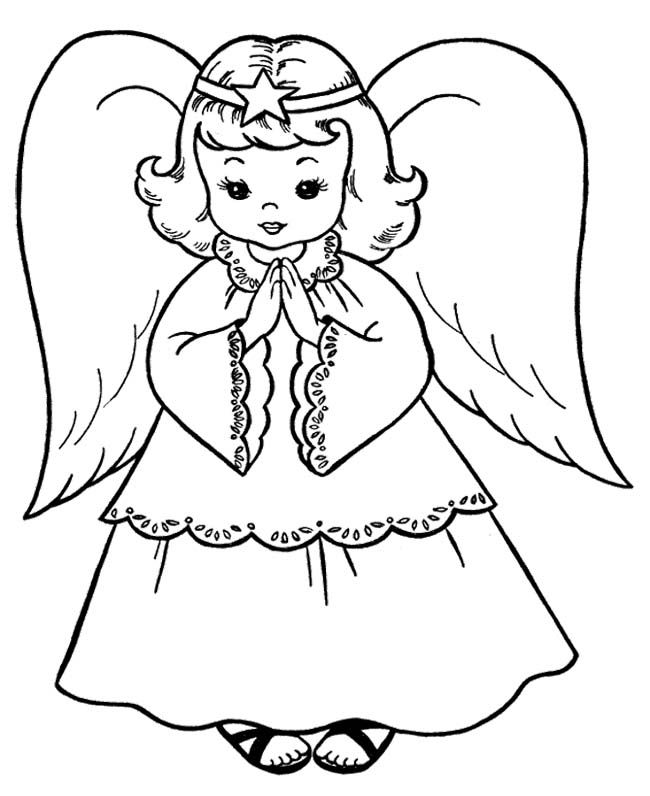 The Child Christmas Angel Coloring Page | Christmas Angel Coloring ...