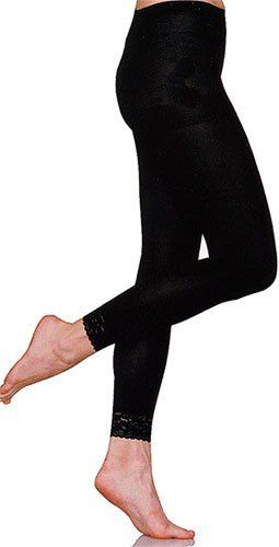 34c0dd4fae42a Black Opaque Microfiber Leggings with Sexy Black Lace Trim by Foot Traffic  Foot Traffic. $9.95