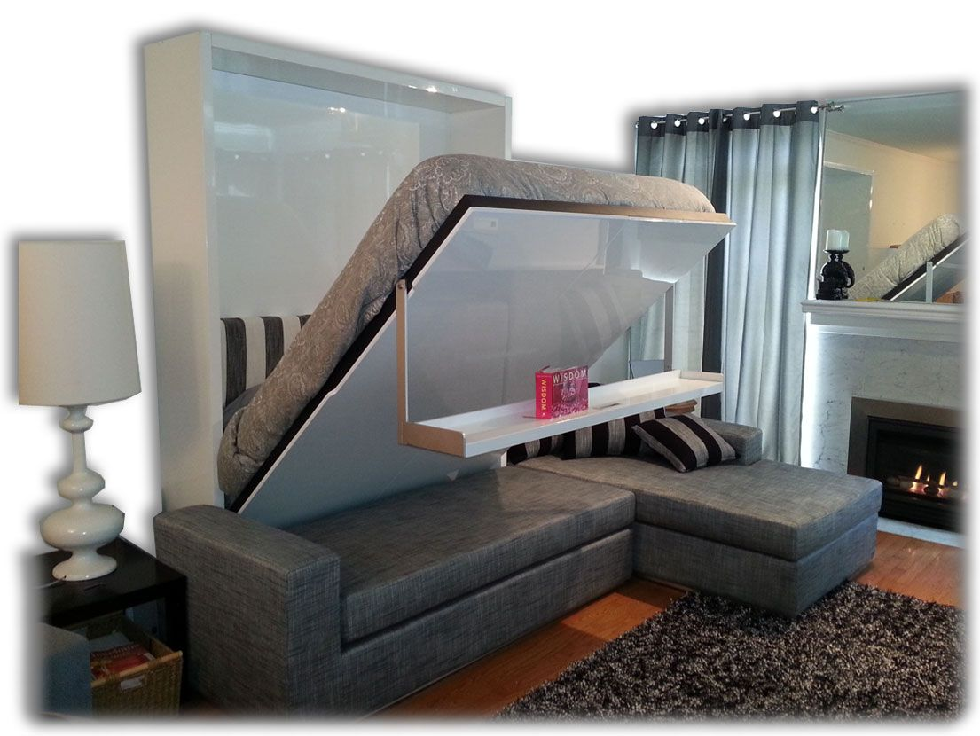 Wall Bed Sofa Sectional With Gray Fabric Sofa Storage Built Into