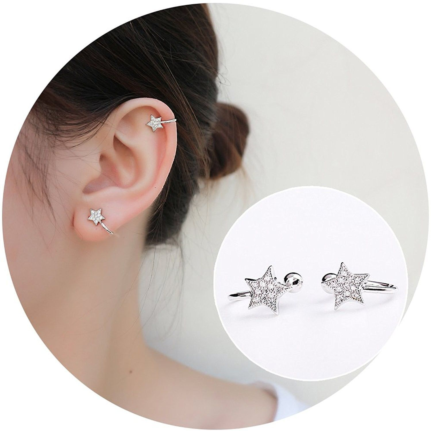 Nose piercing trends 2018  Sterling Silver Stud Earrings Sparkling Bling Rhinestone Inlaid Star