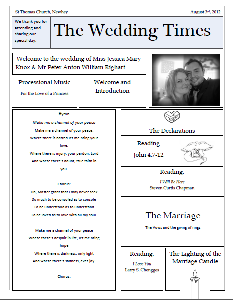 Unique Wedding Newspaper Order Of Service   Free Template  Order Of Service Template Free