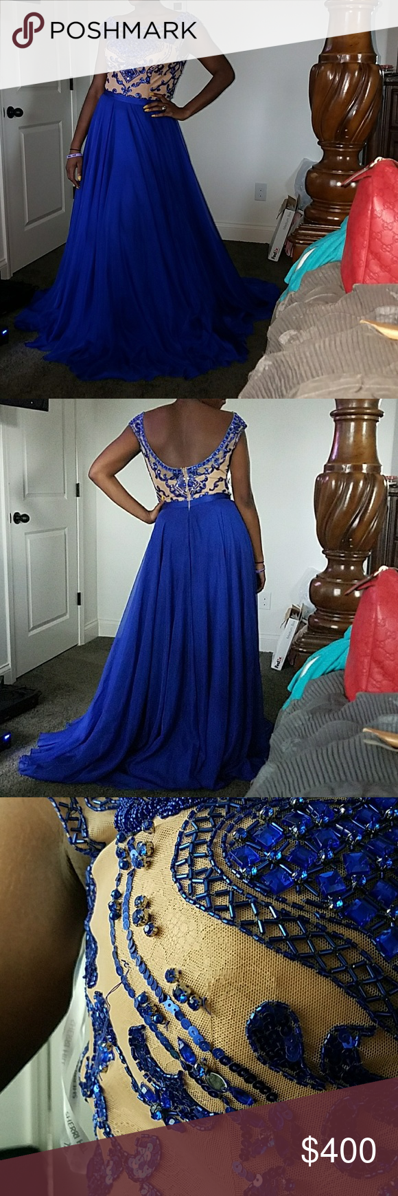 Prom dreds Gorgeous Sherri Hill prom dress!!   Worn only for a few hours.  Size 14  Great for prom 2017. Royal blue and nude Sherri Hill Dresses Prom
