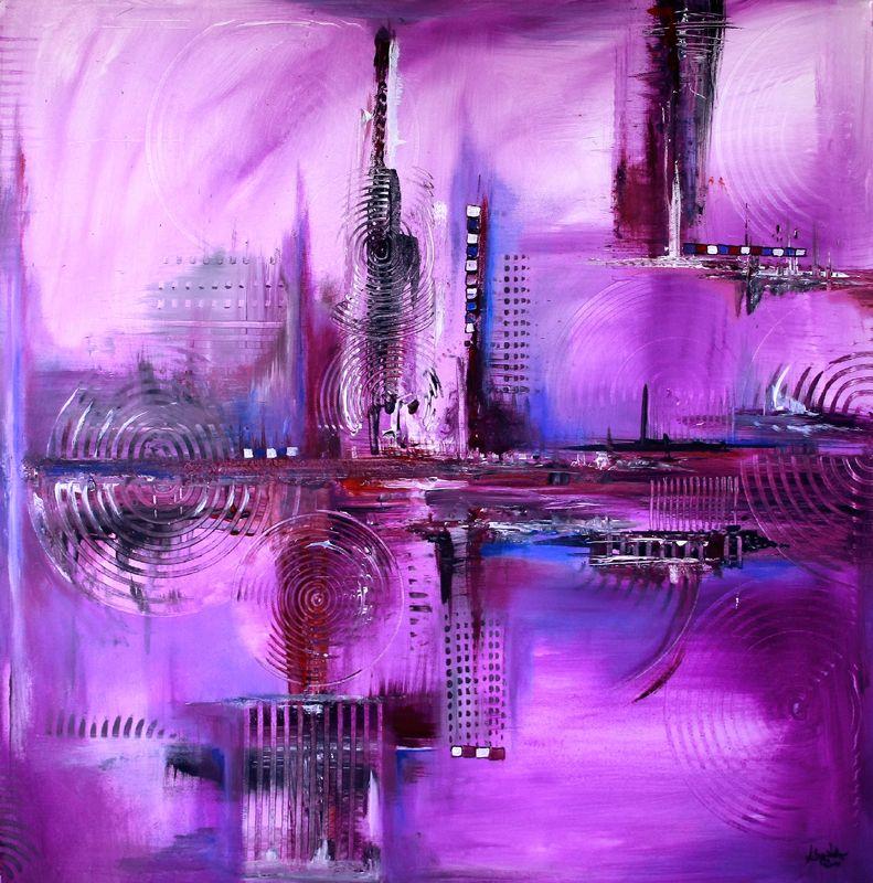 114 Verkaufte Abstrakte Bilder Lila Skyline Violett Lila