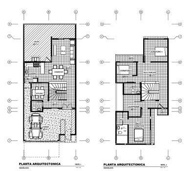 Plantas de distribucion casa moderna de dos niveles 200 for Plantas de viviendas modernas