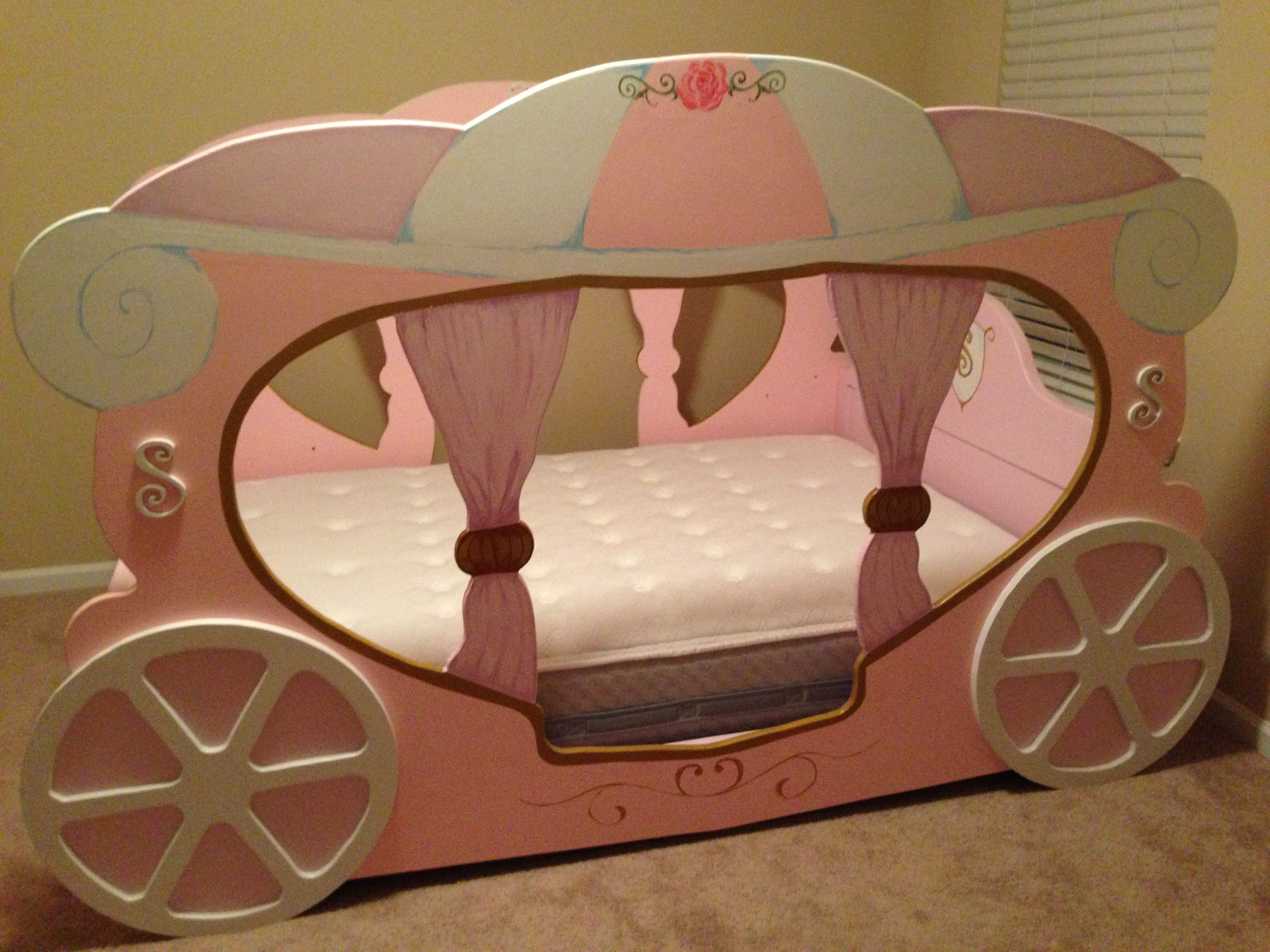Custom made carriage bed. All wood, solid full side bed