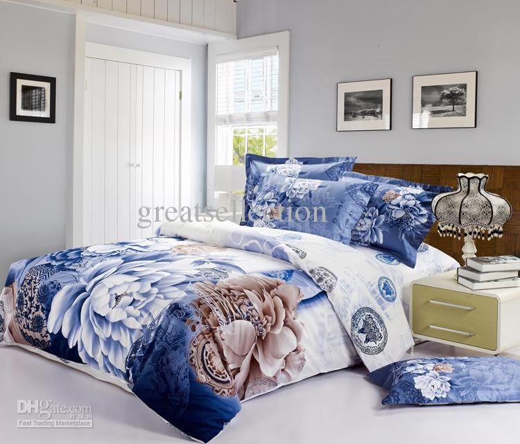 Queen King size Bedding set Blue and White Classical china and ... : queen bed quilt cover size - Adamdwight.com