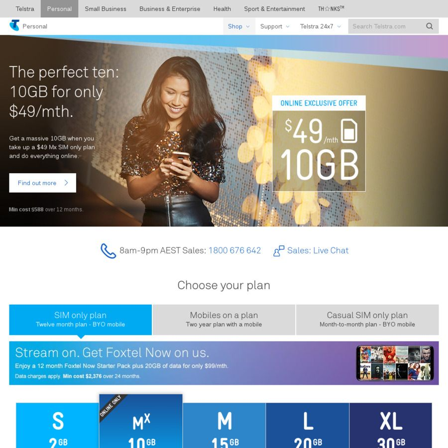Telstra BYO 12 Month Plan 20GB Data+Unlimited Calls 49