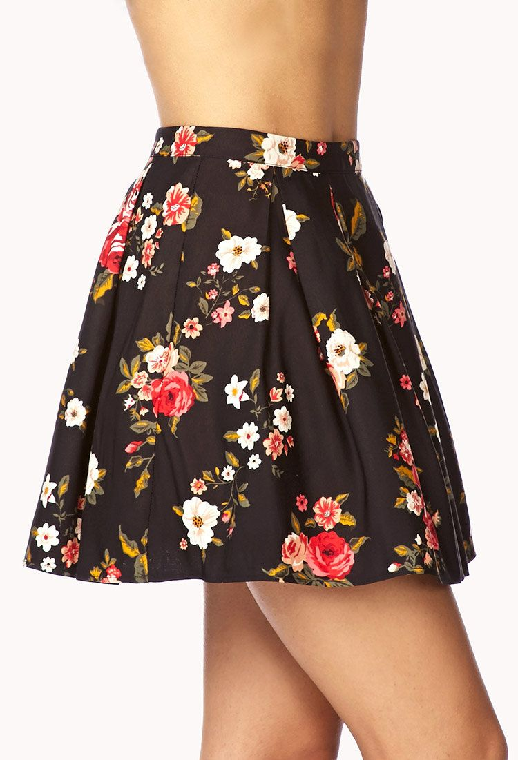 a860a5258b Fancy Floral Box Pleated Skirt | Everyday Clothes to Enjoy Every Day ...
