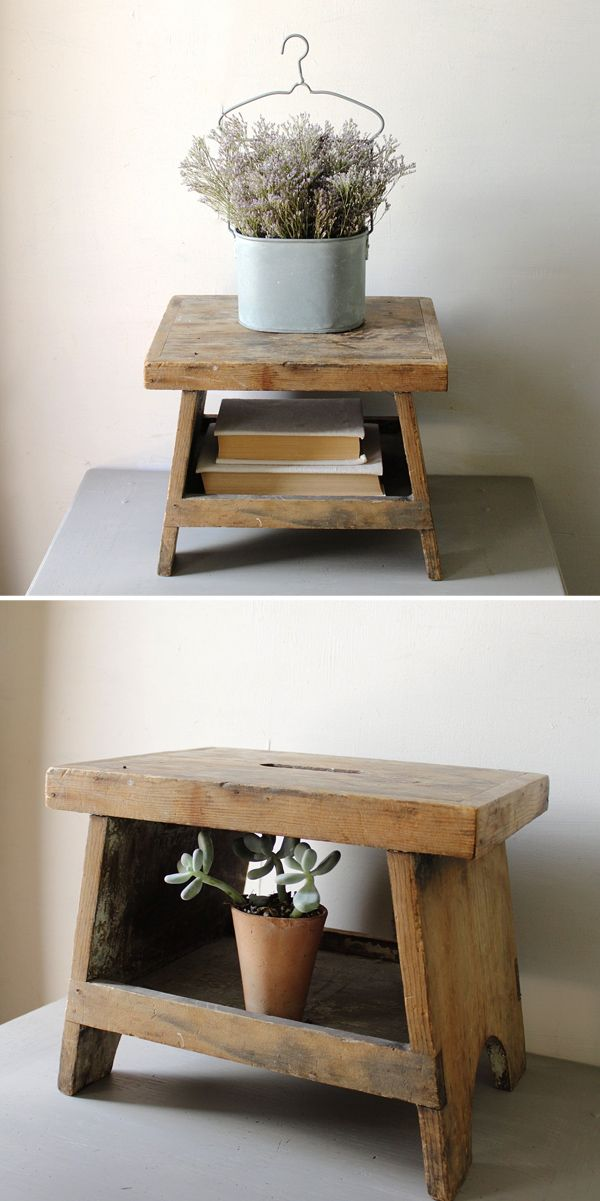 Bed Step Stool: Vintage Wooden Step Stool