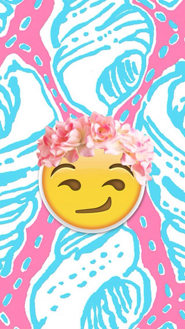 Flower crown Smirky Emoji wallpaper | Wallpapers ...