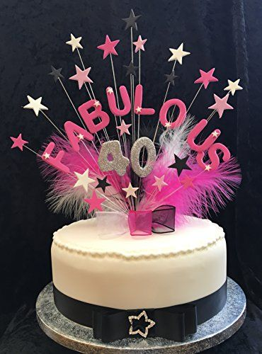 Marvelous Fabulous 40 Birthday Cake Topper With Glittered Number Con Funny Birthday Cards Online Alyptdamsfinfo