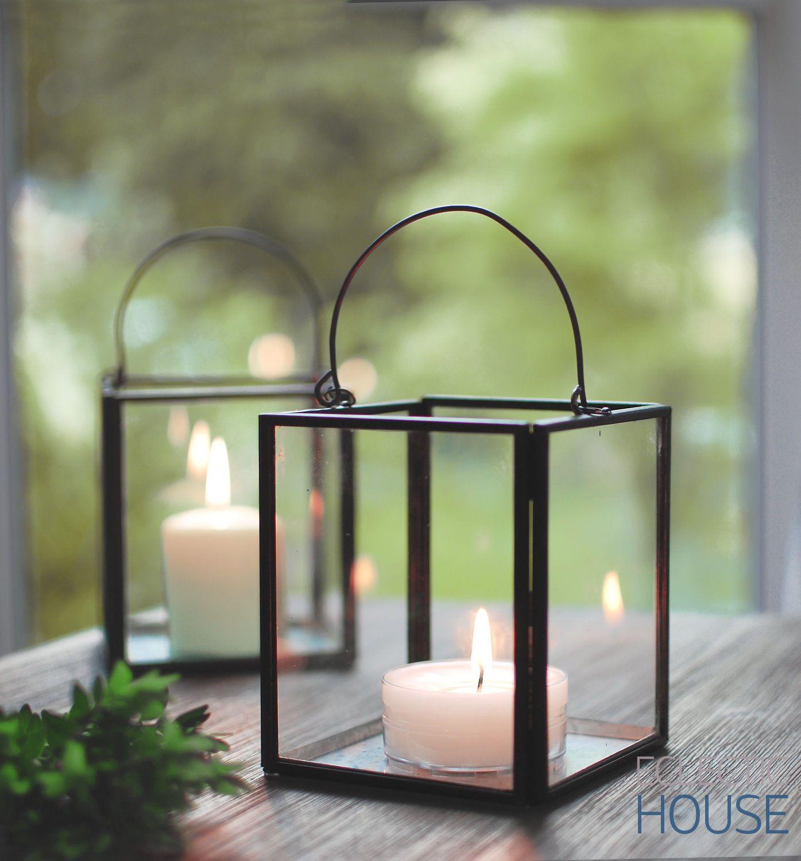 Zinc metal frame glass industrial box lantern tealight Home decor lanterns