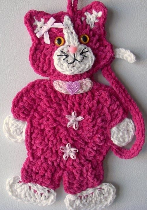 Crochet Cat - wall deco, by Jerre Lollman by mallory