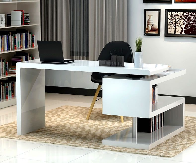 Stunning Modern Home Office Desks With Unique White Glossy Desk Plus Open Bookshelf Black Chair And Chic Rug