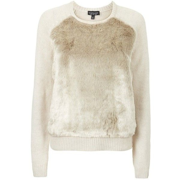 f35fd099 Women's Topshop Faux Fur Front Sweater ($64) ❤ liked on Polyvore featuring  tops, sweaters, long sleeves, blusas, crew sweater, topshop sweater, long  sleeve ...