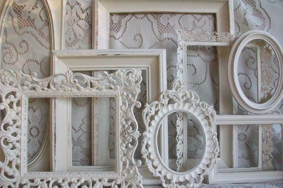 white picture frame set shabby chic large heirloom white vintage frame collection wall gallery display decor home is where the heart is - White Vintage Picture Frames