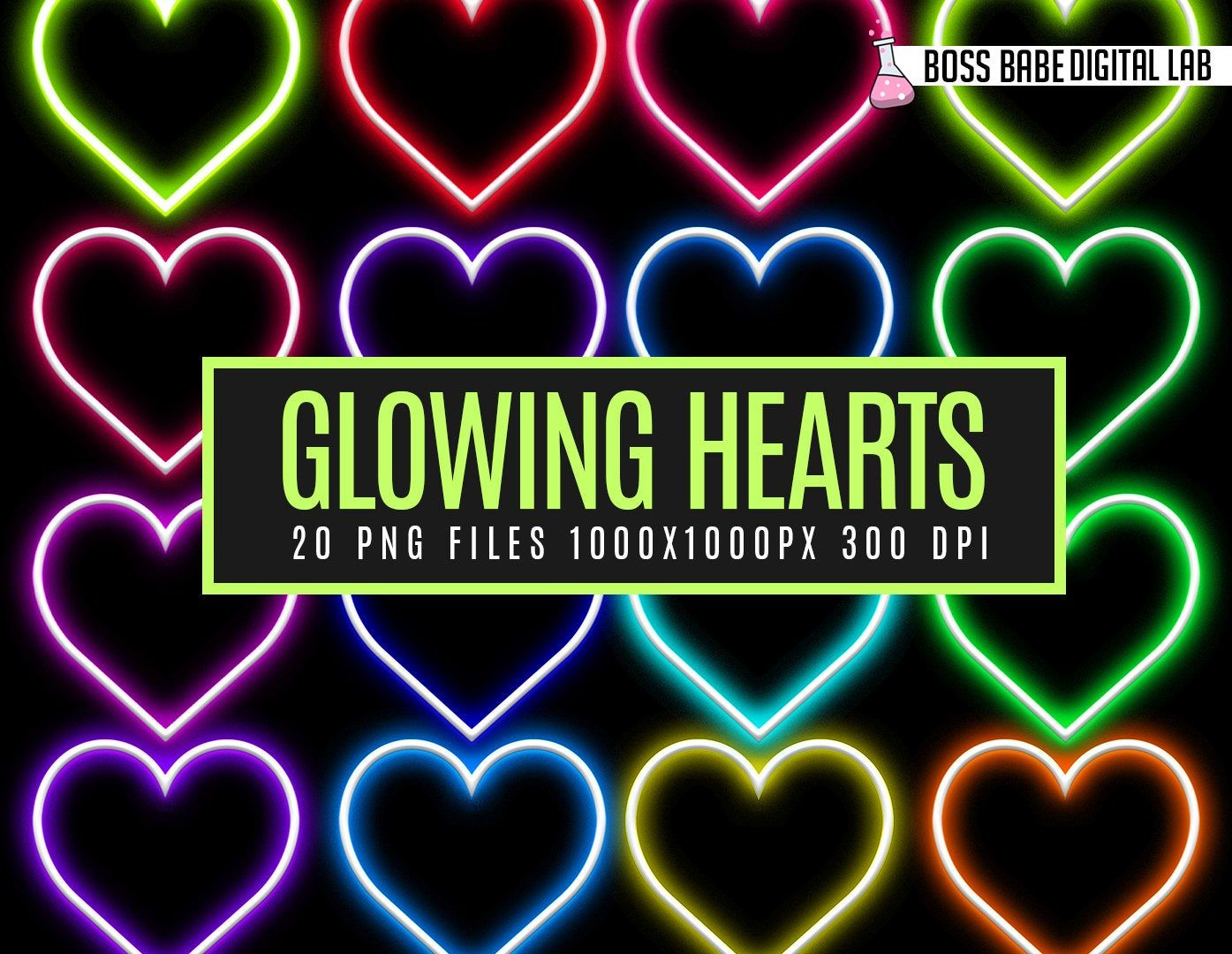 Neon Hearts, Neon Hearts Clipart, Neon Clipart, Neon PNG