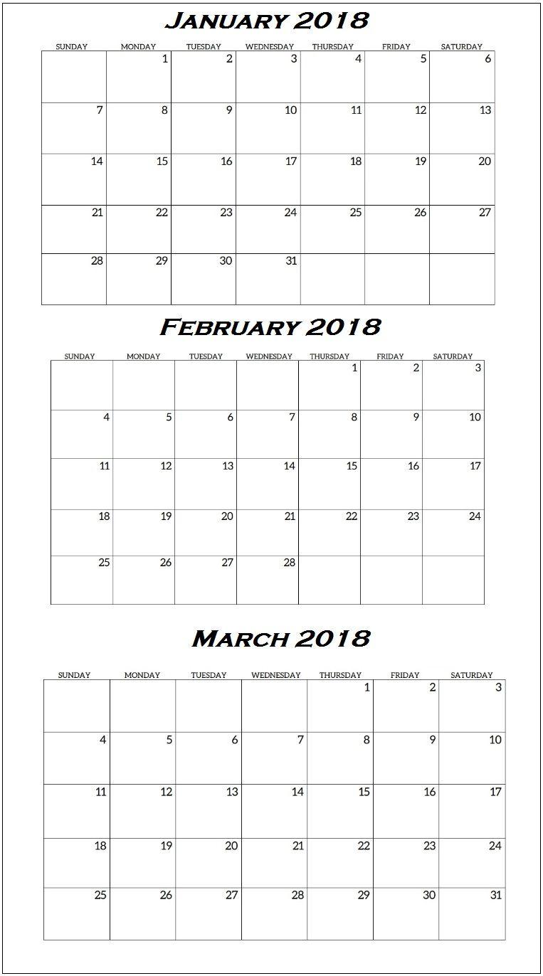graphic regarding Printable Quarterly Calendar referred to as January Towards March 2018 Quarterly Calendar Calendar 2018