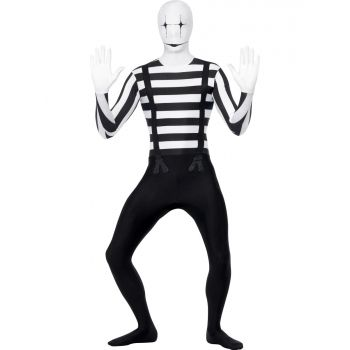 Mime second skin pak. Second skin kostuum in de stijl van een zwart wit mime artiesten pak. Met verborgen gulp en een opening onder de kin. Carnavalskleding 2015 #carnaval
