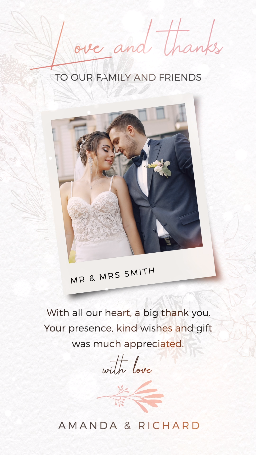 Looking for a unique wedding thank you card ideas? This elegant wedding thank you card with photo is the perfect choice to say thank you to your wedding guests for sharing your special day. Share your electronic invitation via phone message, WhatsApp, email or social media. Pin This + Click Through to see more images and digital invitations! #weddingthankyou #weddingideas #elegantweddinginvites #weddingthankyougifts #weddinginspiration #weddingphotos