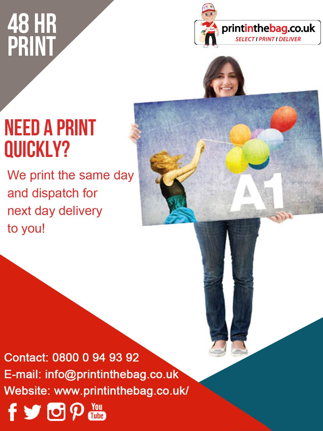 We Print On The Same Day And Dispatch For The Next Day Delivery To You Printinthebag Select Print Deliver Printing Business Cards Print Printing Services