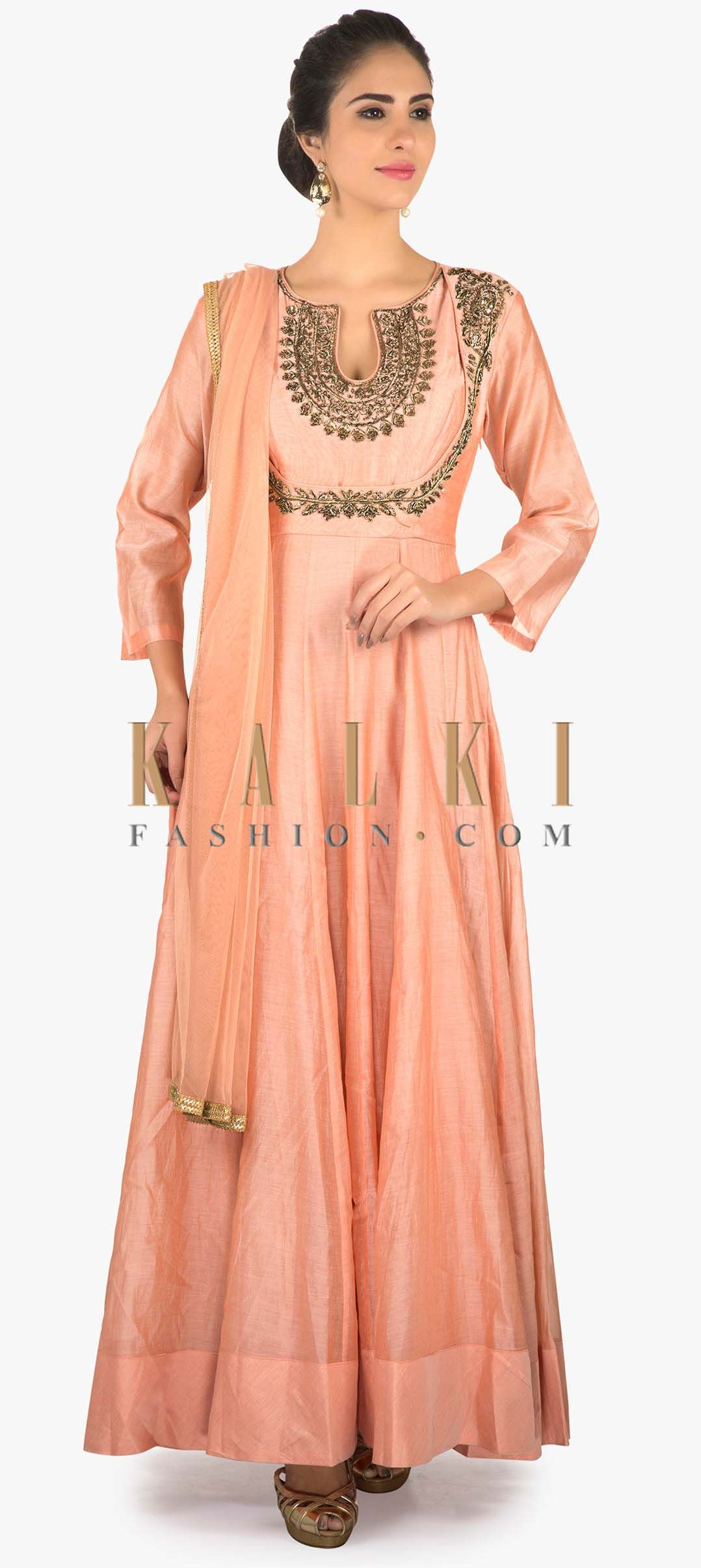 Light pink colored cotton silk anarkali with a net dupatta only on