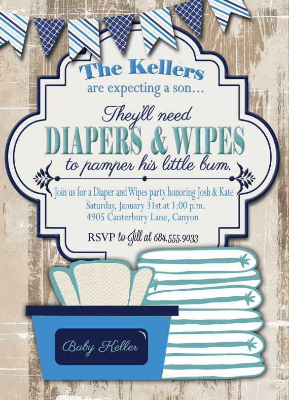 Baby Shower Invitation Diaper And Wipes Baby By